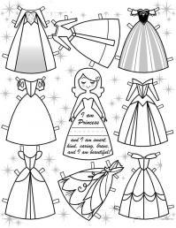 Платья для принцессы Раскраски для девочек распечатать