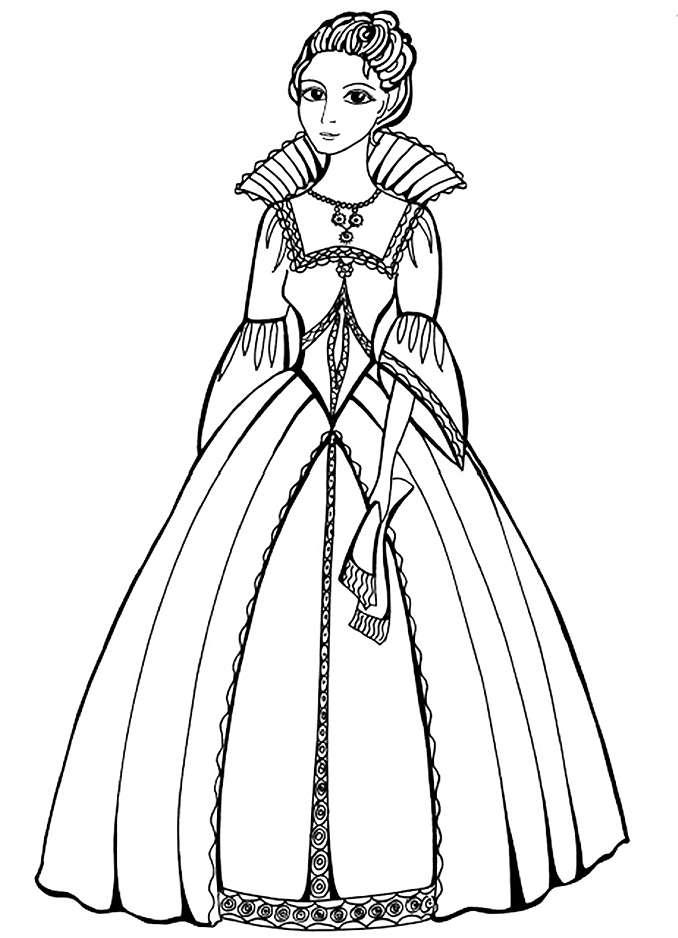 Модное платье 19 века Раскраски для девочек распечатать