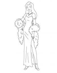 Девушка в модном платье Раскраски для девочек распечатать