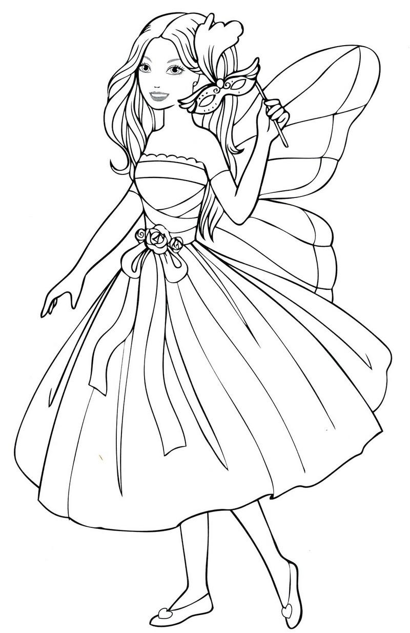 Девочка в карнавальном платье феи Раскраски для девочек распечатать