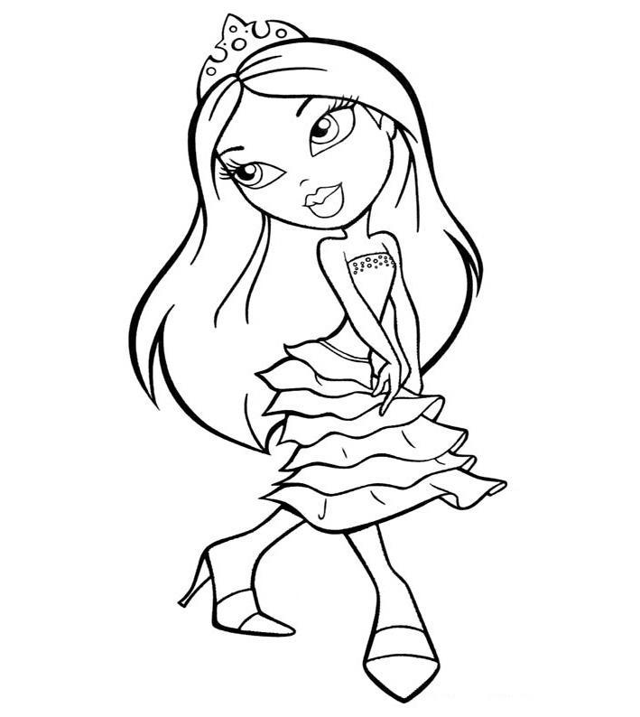 Девочка в модном платье с ярусами Раскраски для девочек распечатать