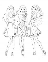 Девочки в модных платьях Раскраски для девочек распечатать