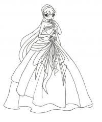 В свадебном платье, винкс Новые раскраски с цветами