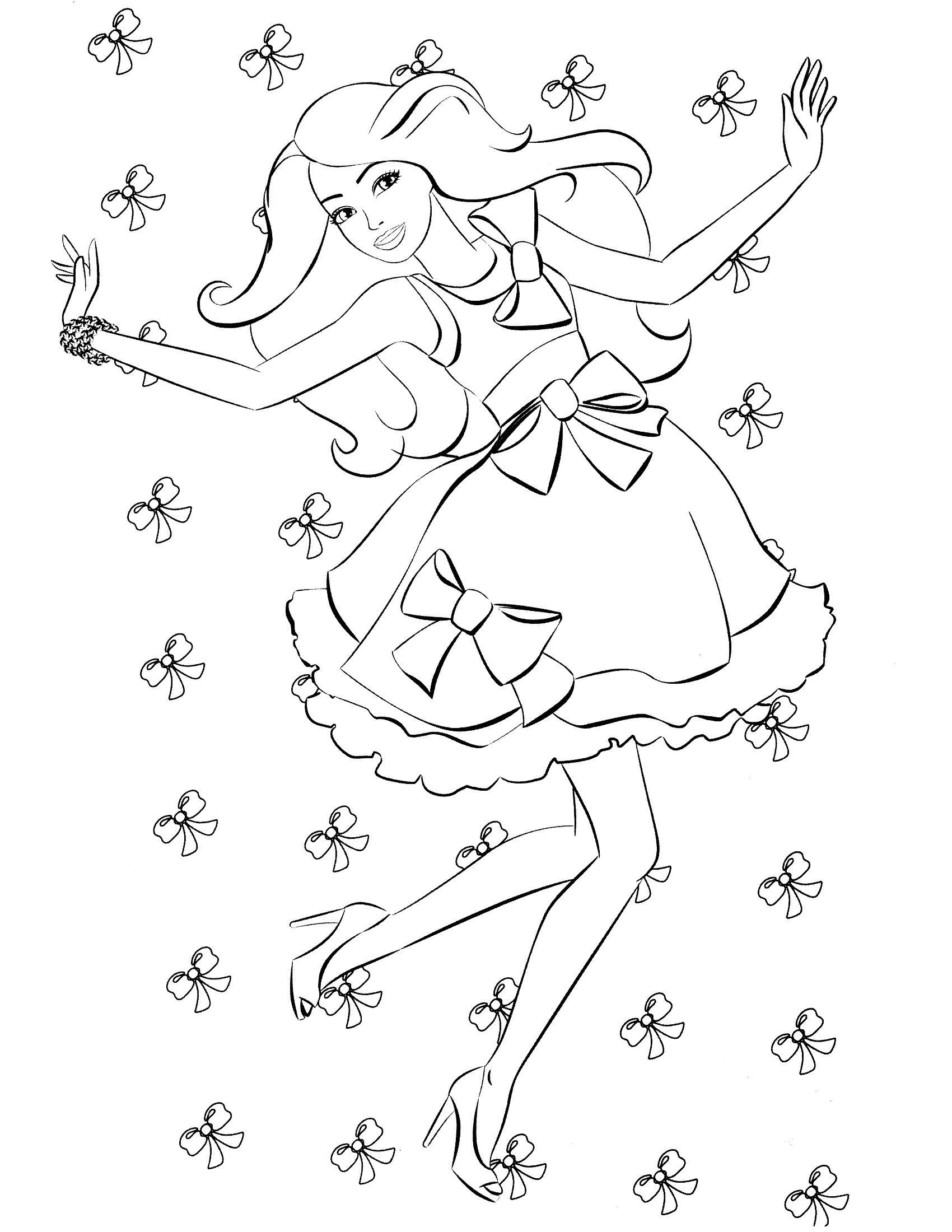 Модное платье с бантиками на барби Для детей онлайн раскраски с цветами