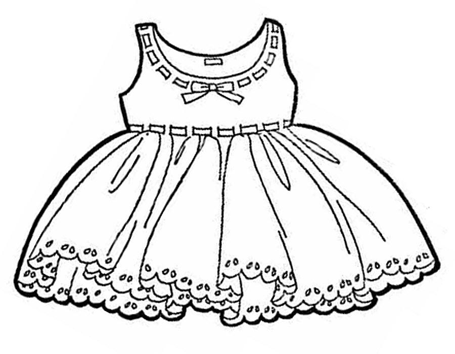 Платье с кружевами Раскраски для девочек распечатать