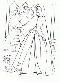 Поющая девушка и кошка Раскраски для девочек бесплатно
