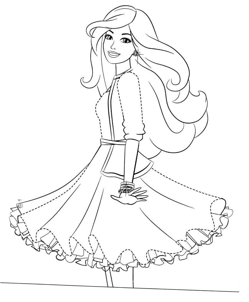 Девочка в модном пышном платье Раскраски для девочек распечатать