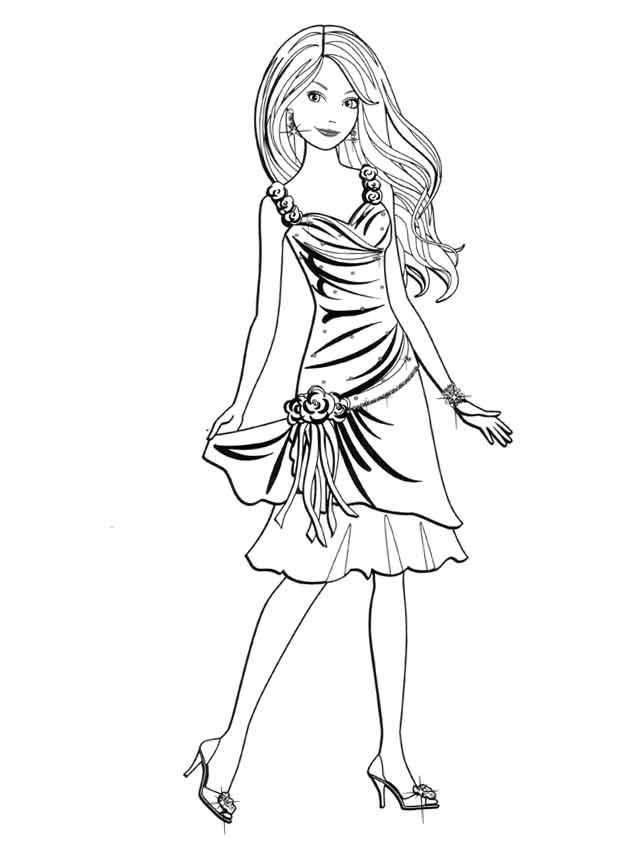 Модное платье с розочками Раскраски для девочек распечатать