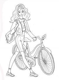 Девочка с велосипедом Раскраска цветок для скачивания