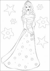 Барби в платье в цветок Раскраски для девочек бесплатно