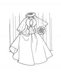 Девушка в модном свадебном платье Раскраски для девочек распечатать