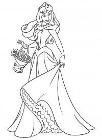 Принцесса в модном платье с корзинкой цветов Раскраски для девочек скачать