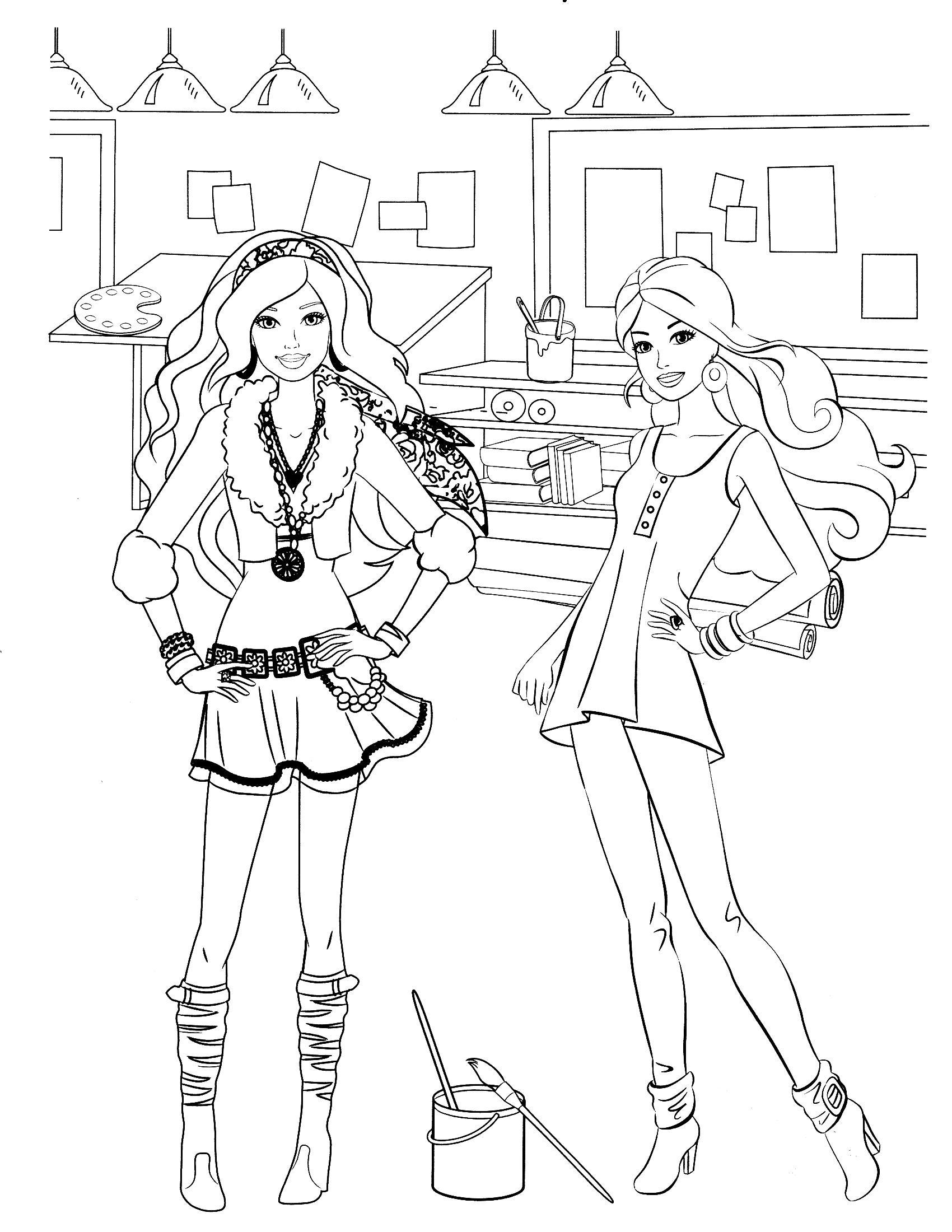 Барби в моднох платьях Раскраски для девочек скачать