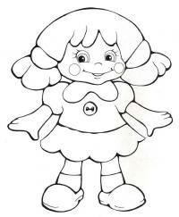 Кукла в платье с погувичкой Раскраски для девочек онлайн