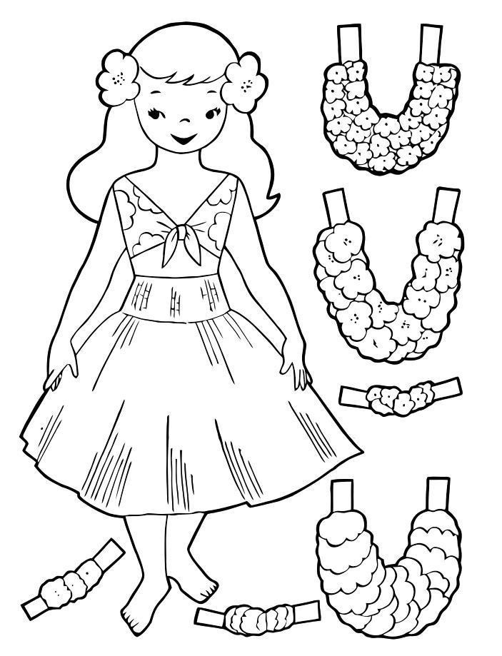 Выкройка платье для бумажных кукол Раскраски для девочек распечатать