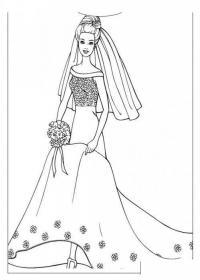 Невеста Раскраска цветок для скачивания