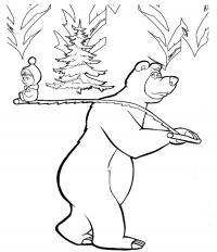 Медведь несет елочку и машу на пиле Раскраски для девочек бесплатно