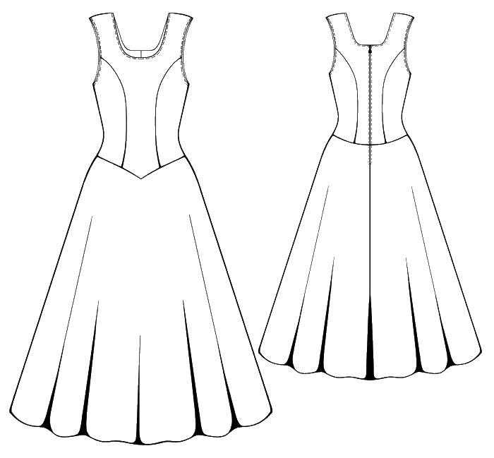 Платье без рукавов Раскраски для девочек распечатать