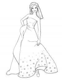 Барби в красивом платье Раскраски для девочек бесплатно