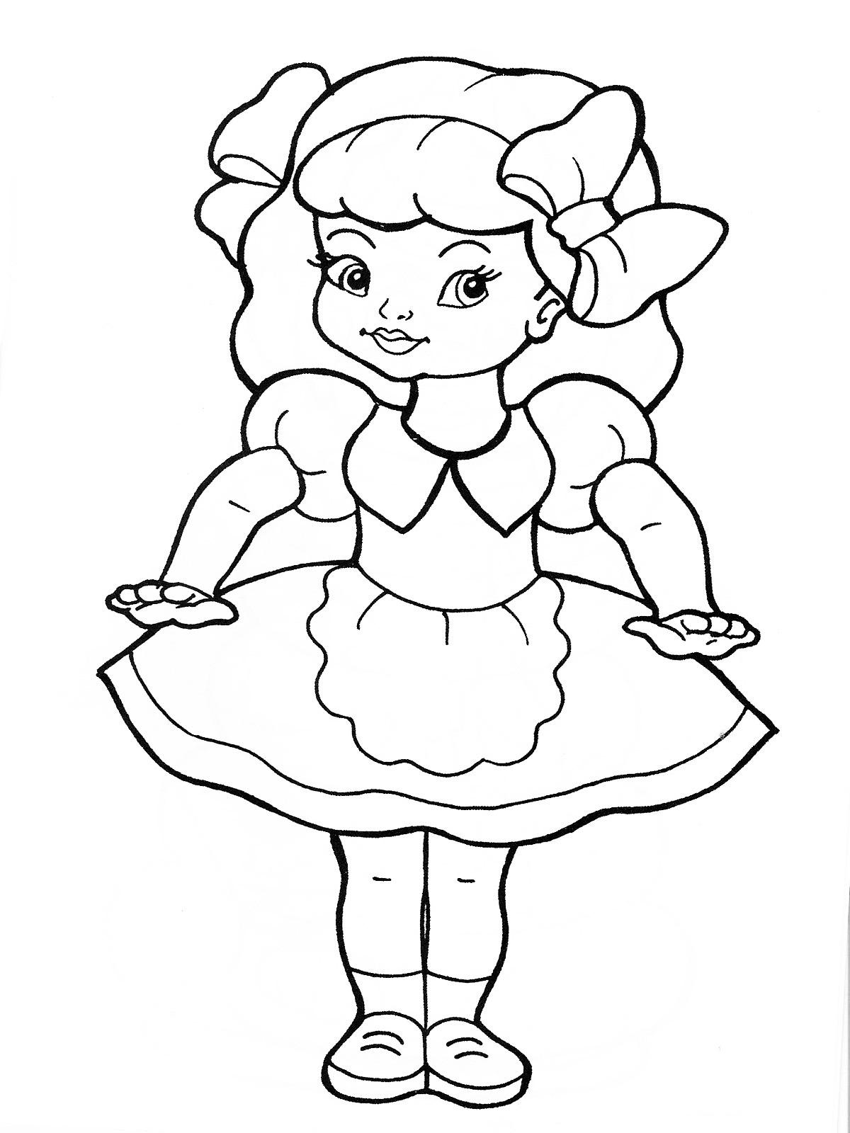 Кукла с бантами Раскраски для девочек онлайн