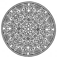 Круглый узор Новые раскраски с цветами