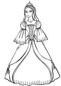 Принцесса в платье с узорами Раскраски для девочек скачать