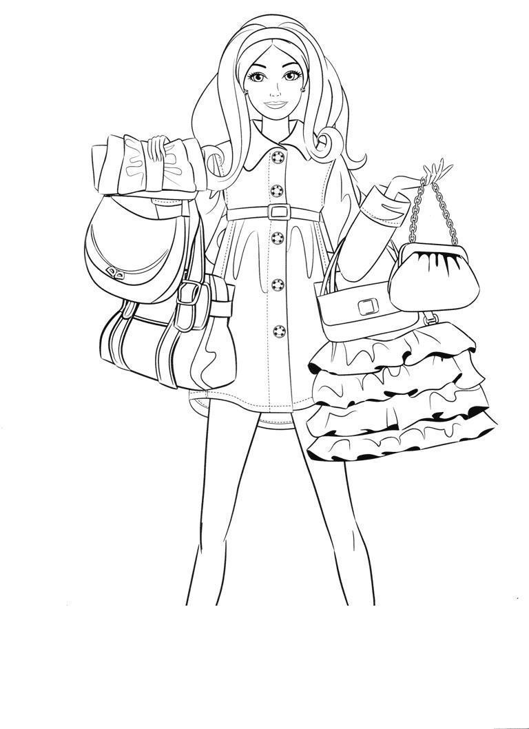 Девочка с сумочками Раскраски с цветами распечатать бесплатно