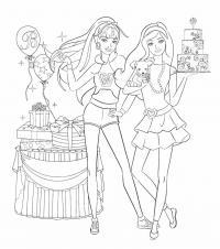 Барби на день рожденье Раскраски для девочек бесплатно