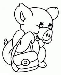 Поросенок с сумочкой Раскраски для девочек распечатать