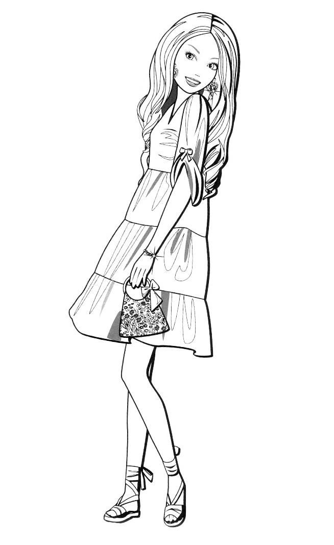 Барби с сумочкой Раскраски для девочек скачать