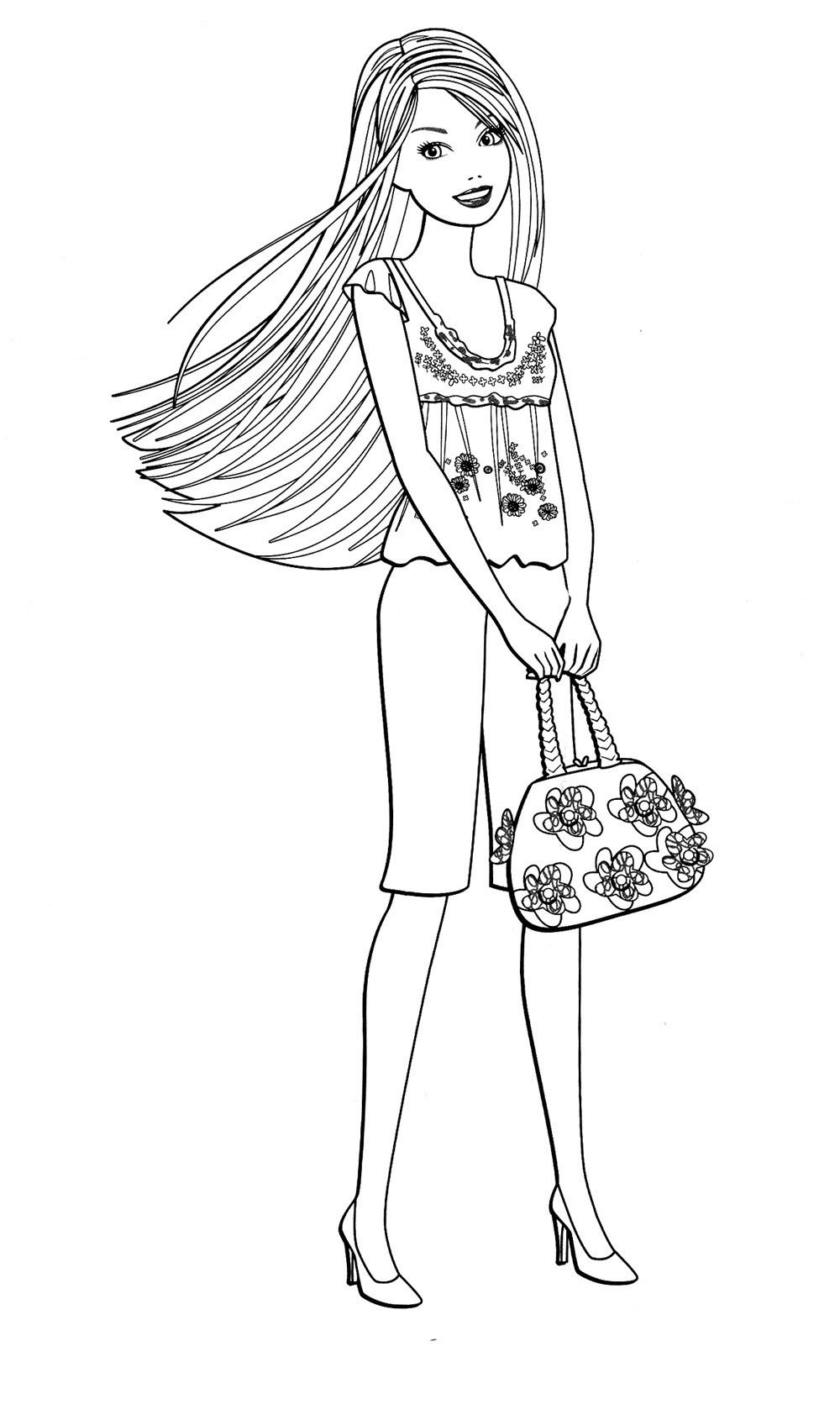 Барби с сумочкой с цветами Раскраски для девочек бесплатно