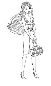 Барби с сумочкой с цветами Раскраски для девочек скачать