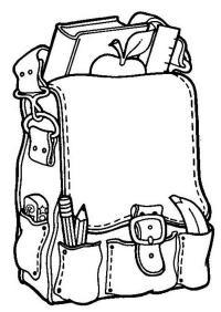 Ранец с книгами карандашами, линейкой, яблоком Раскраски для девочек распечатать