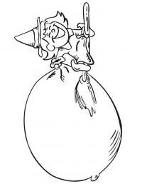 Ведьма на метле с мешком Раскраски для девочек бесплатно