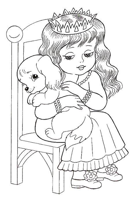 Раскраска девочка с собачкой - 9