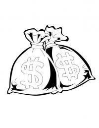 Сумка с деньгами Раскраски для девочек распечатать