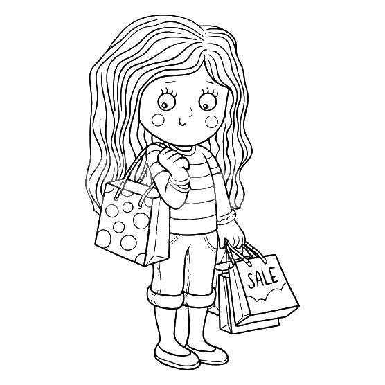 Девочка с пакетами Раскраски бесплатно онлайн с цветами