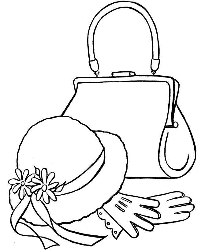 Женская сумочка, шляка и перчатки Раскраски для девочек распечатать