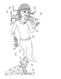 Девочка в кепке среди листьев Раскраски для девочек онлайн