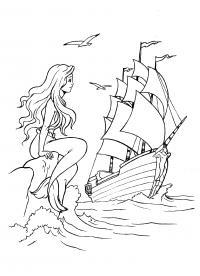 Русалка смотрит на корабль Раскраски с цветами распечатать бесплатно