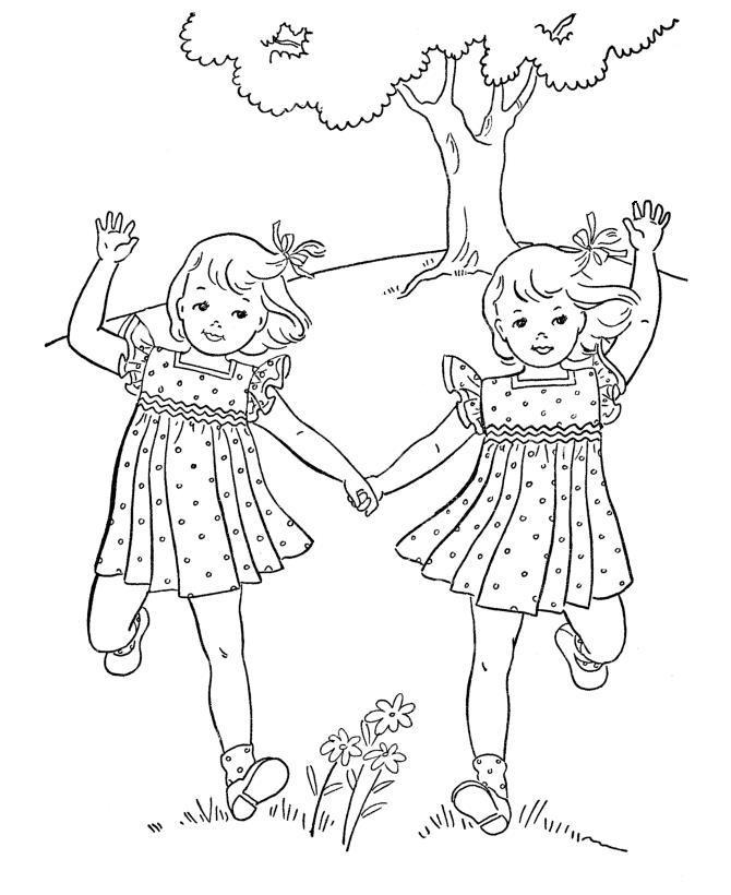 Девочки близнецы Раскраски для девочек скачать