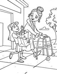 Девочка с бабушкой Раскраски для девочек скачать