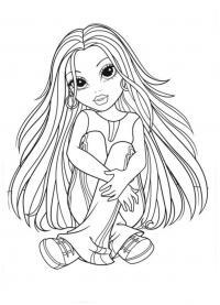 Девочка сидит на полу Раскраски для девочек онлайн
