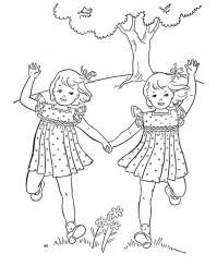 Девочки близнецы Раскраски для девочек онлайн