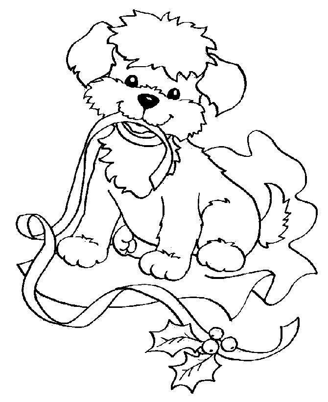 Собачка с лентой Раскраски для девочек онлайн
