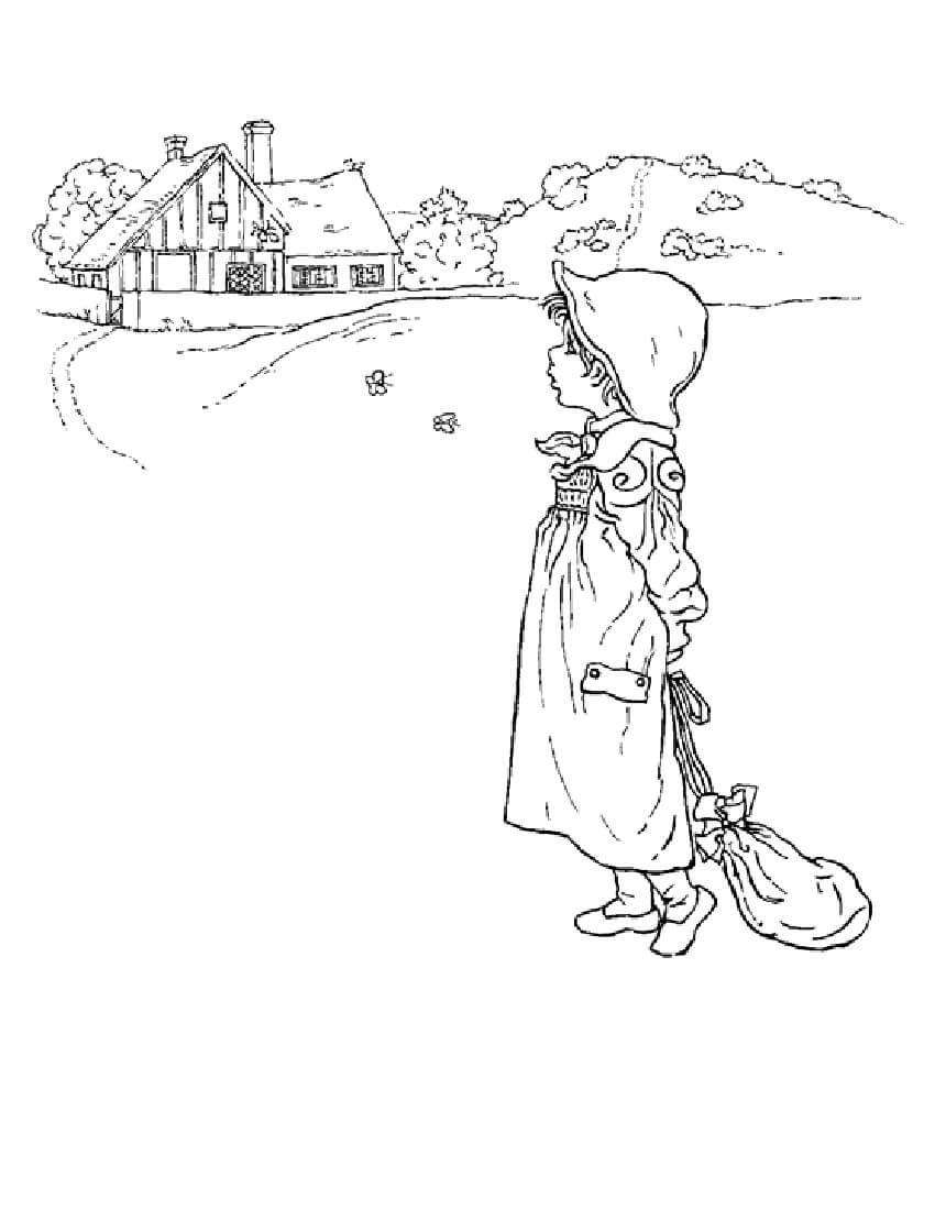 Девочка возле деревне Раскраски бесплатно онлайн с цветами