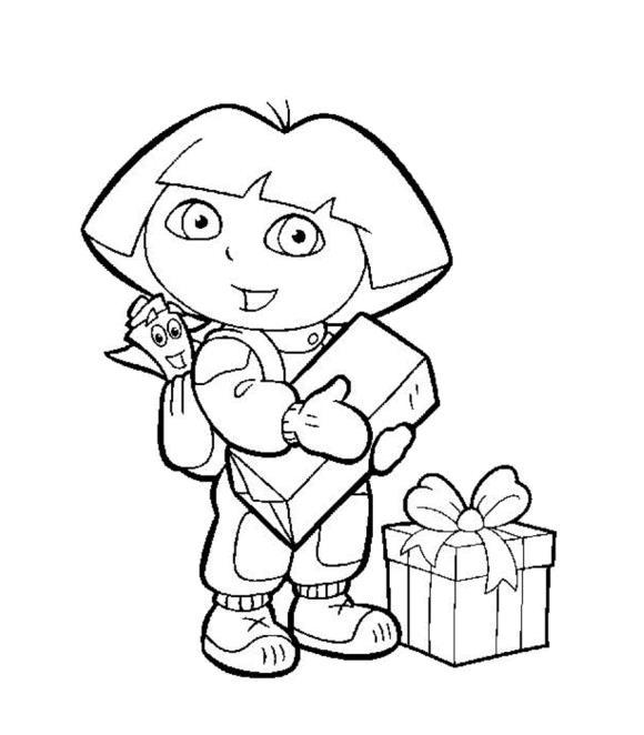 Дора с подарками Раскраски для девочек бесплатно