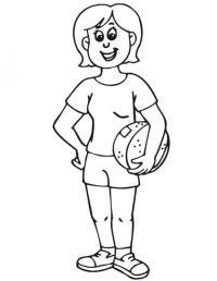 Девочка с мячиком Раскраски для девочек скачать