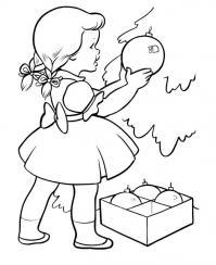Девочка наряжает елочку Раскраски для девочек скачать