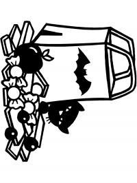 Сумочка с летучей мышкой для хэллоуина Найти раскраски цветов